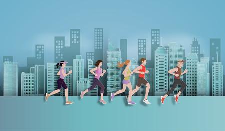 Illustrazione vettoriale in esecuzione maratona, uomo e donna che corrono in città, arte della carta e stile artigianale digitale.
