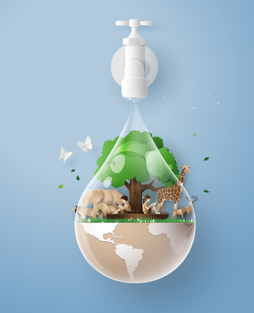 concept of eco and wolrd water day .paper art and craft style Ilustracja