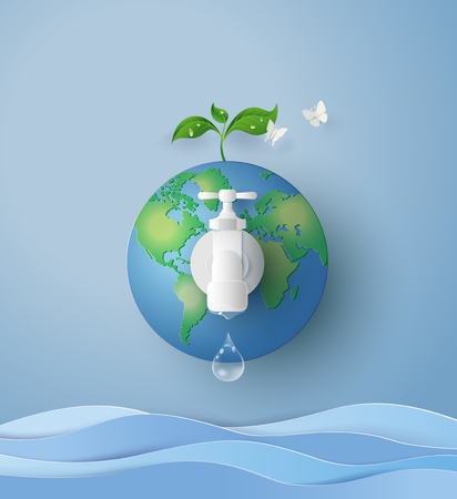 concept of eco and wolrd water day .paper art and craft style Иллюстрация