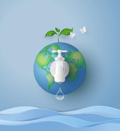 koncepcja ekologicznego i światowego dnia wody. Papierowa sztuka i styl rzemieślniczy
