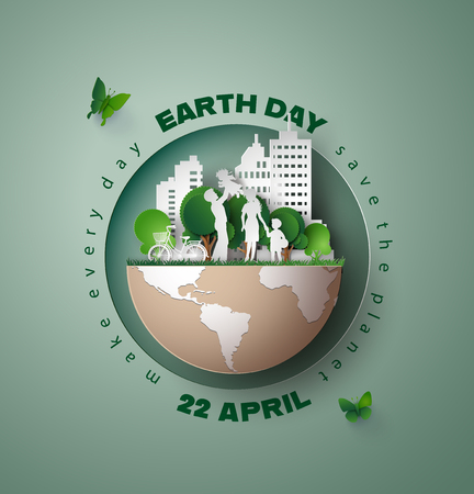 Concepto mundial del medio ambiente y del día de la tierra, papel cortado 3d.
