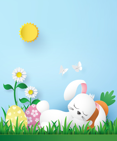 Illustration of Easter day with egg and rabbit ,paper art and digital craft style. Illustration
