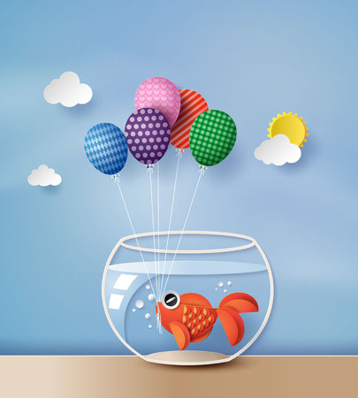 illustration concept goldfish  with colorful balloon , paperart style.