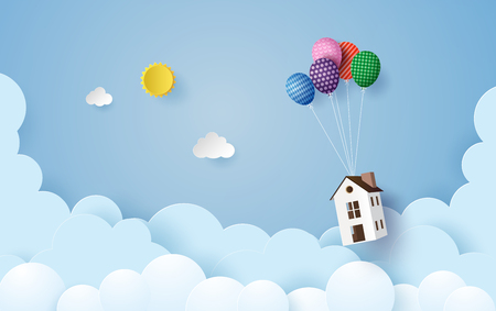 business concept paper house hanging with colorful balloon , paperart style. Stock Photo