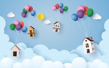 business concept paper house hanging with colorful balloon , paperart style. Reklamní fotografie