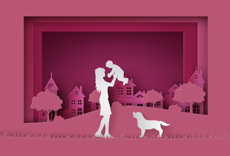 Happy Mothers day greeting card Paper cut .  women and girl in the garden. 일러스트