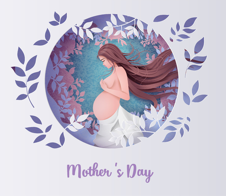 Happy Mothers day greeting card. Paper cut flower  frame with Pregnant woman.
