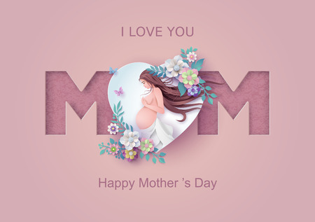 Happy Mothers day greeting card. Paper cut flower  frame with women and girl. 스톡 콘텐츠