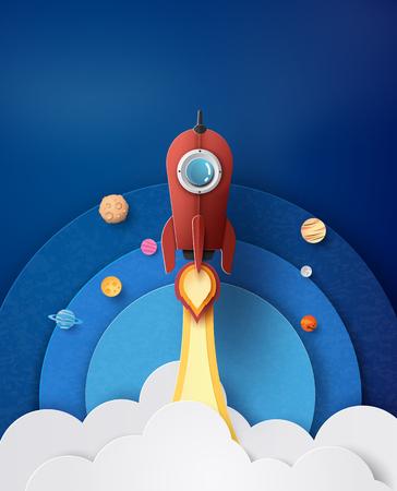 Lancement de fusée spatiale et galaxie. style d'art du papier. Banque d'images