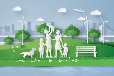 concept of eco with happy family walking on the field  .paper art style
