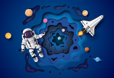 Astronaut floating in the stratosphere. Paper art and craft style. Ilustração