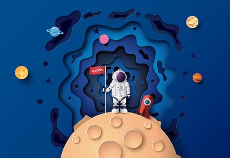Astronauta con bandera en la luna, arte en papel y estilo artesanal digital.