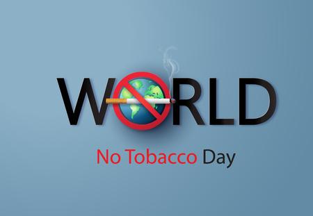 Non fumare e Giornata mondiale senza tabacco, stile carta tagliata. Vettoriali