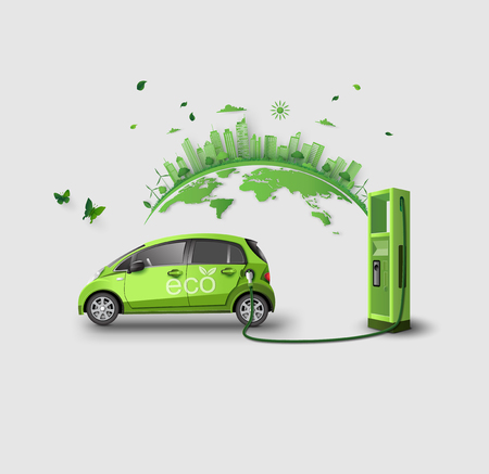 concept of Environmentally friendly  with eco car. paper art and craft style. 일러스트