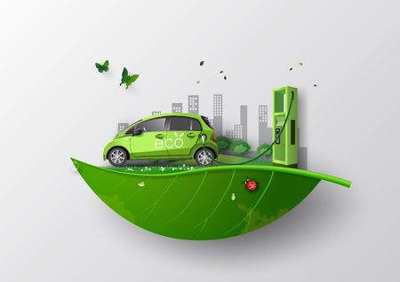 koncepcja przyjazna dla środowiska z ekologicznym samochodem .papierowym stylu sztuki i rzemiosła.