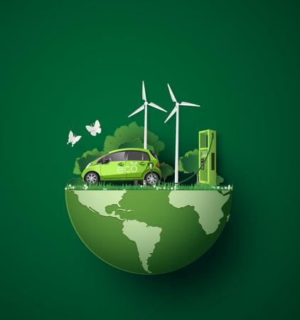Konzept der Umweltfreundlich mit Öko-Auto .paper Kunst- und Handwerksstil.
