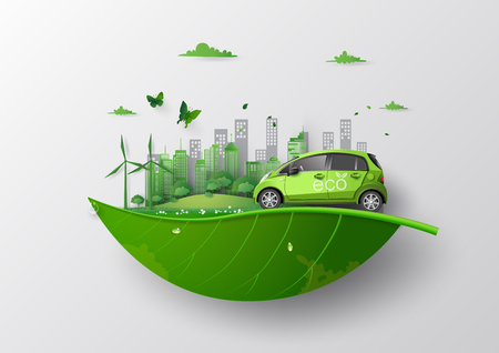 concept of Environmentally friendly  with eco car .paper art and craft style. Archivio Fotografico - 127659217