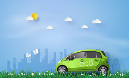 concept of Environmentally friendly  with eco car .paper art and craft style.