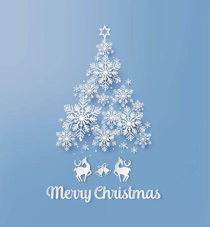 Weihnachtsgrußkarte mit Schneeflocke und Hirsch Papierschnitt-Stil. Vektorgrafik