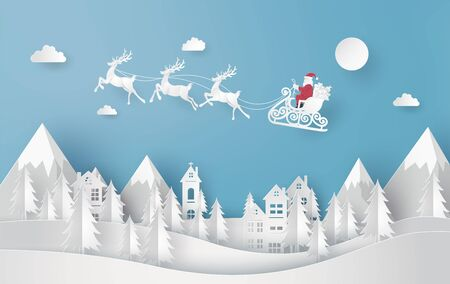 Merry Christmas and Happy New Year. Illustration of Santa Claus on the sky coming to City, paper art and cut  style Illustration