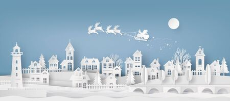 Merry Christmas and Happy New Year. Illustration of Santa Claus on the sky coming to City, paper art and cut  style Иллюстрация