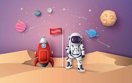 Astronaut mit Flagge auf dem Mond, Papierkunst und digitalem Handwerksstil. Vektorgrafik