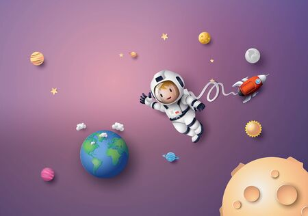 Astronauta Astronauta fluttuante nella stratosfera. Arte della carta e stile artigianale.