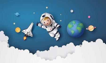 Astronauta Astronauta fluttuante nella stratosfera. Arte della carta e stile artigianale. Vettoriali