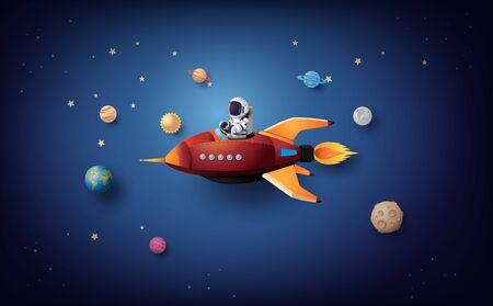 Astronaut Astronaut, der in der Stratosphäre schwimmt. Papierkunst und Bastelstil.