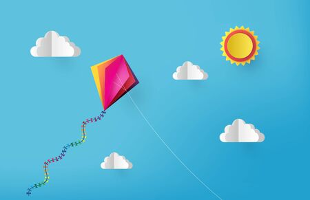 Colorful kite flying on the sky. paper cut  style.