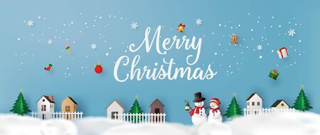 Merry Christmas and Happy New Year. with snow man ,greeting card paper art and paper cut style.
