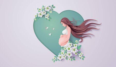 Tarjeta de felicitación del día de la madre feliz. Marco de flores de corte de papel con mujer embarazada. Ilustración de vector