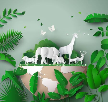 World Wildlife Day with the animal in forest, Paper art and digital craft style.