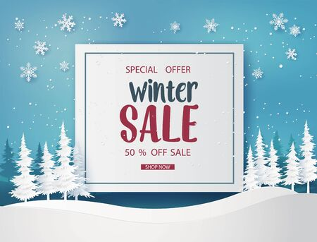 Winter sale  banner design with white snowflakes. paper art style.