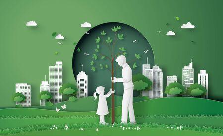 groene stad met moeder en meisje. papier knippen en digitale ambachtelijke stijl.
