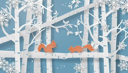 Illustration of winter season with the squirrel is climbing on the tree and snow is shining. Paper art style. 스톡 콘텐츠 - 132748688