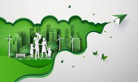 concept van eco met gelukkige familie op het veld en papieren vliegtuigje. papier kunst gesneden stijl