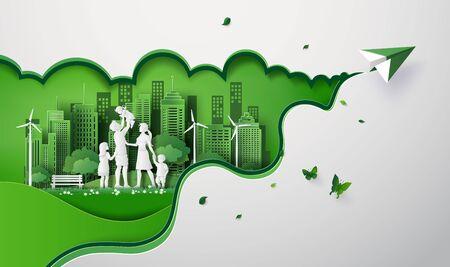 Konzept von Öko mit glücklicher Familie auf dem Feld und Papierflieger. Papierkunst-Schnittstil