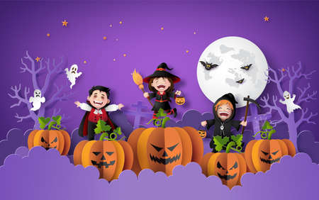 Happy Halloween party with group children in halloween costumes