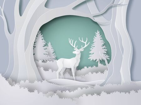 Deer in forest with snow in the winter season and christmas. vector paper art style.