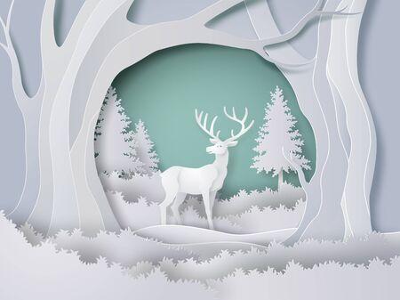 Hirsche im Wald mit Schnee in der Wintersaison und Weihnachten. Vektor-Papier-Kunst-Stil.