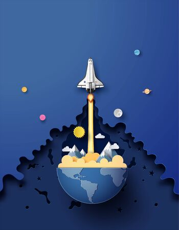 paper art space rocket launch and galaxy. 일러스트