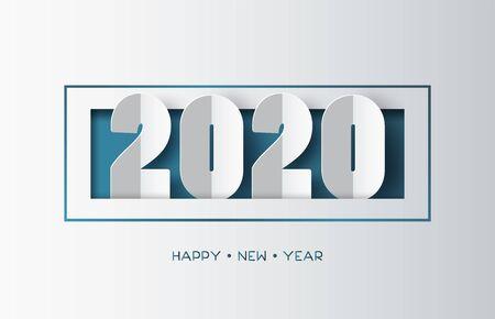 Feliz año nuevo 2020 diseño de texto con estilo de corte de papel.