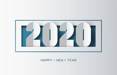 Happy new year 2020 text design with paper cut  style. 向量圖像
