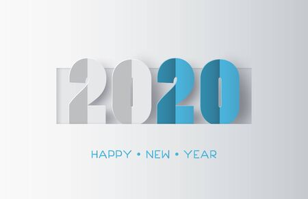 Happy new year 2020 text design with paper cut  style. Çizim
