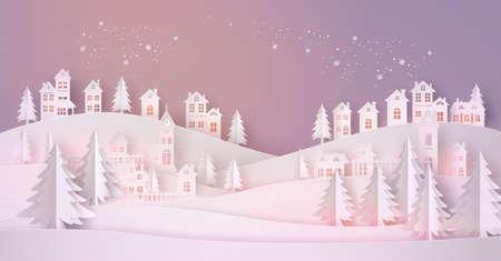 Winter Snow Urban Countryside Landscape City Village 矢量图像