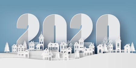 Winter Sneeuw Stedelijk Platteland Landschap Stadsdorp, Gelukkig nieuwjaar 2020 en Vrolijk kerstfeest, papierkunst en snijstijl. Vector Illustratie