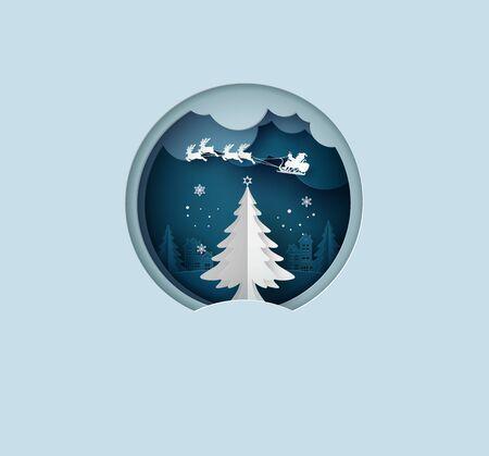 Frohe Weihnachten-Grußkarte mit Origami aus Weihnachtsbaum und Schneeflocke. Papierkunst und Bastelstil