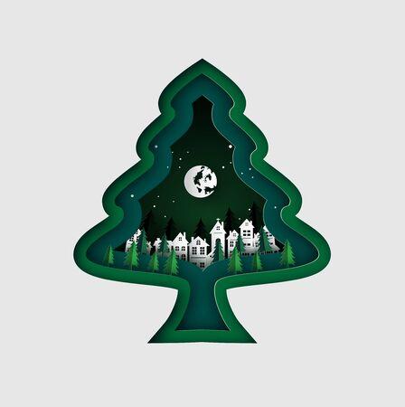 Merry Christmas wenskaart met kerstboom en sneeuwvlok. papier gesneden kunst vectorillustratie. Vector Illustratie