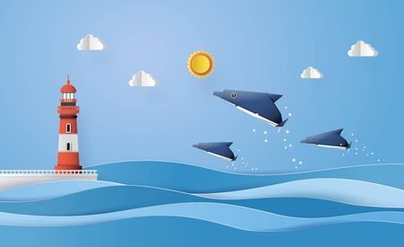 Origami made dolphin and sailing boat Float on the sea with sun beam .  イラスト・ベクター素材